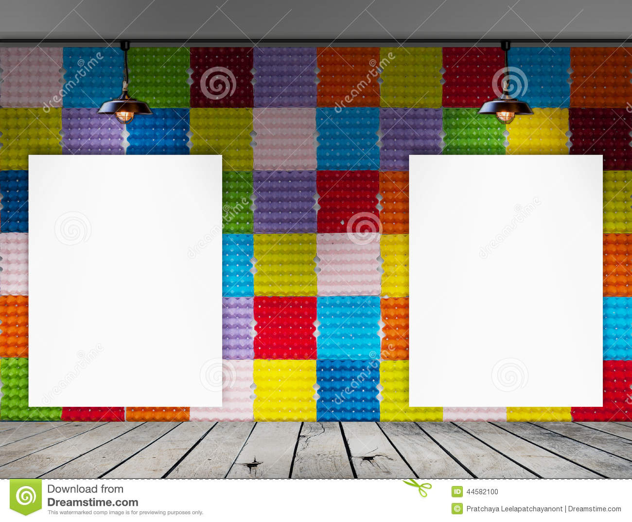 Blank frame on colorful paper egg tray wall and wood floor for Egg tray wall hanging