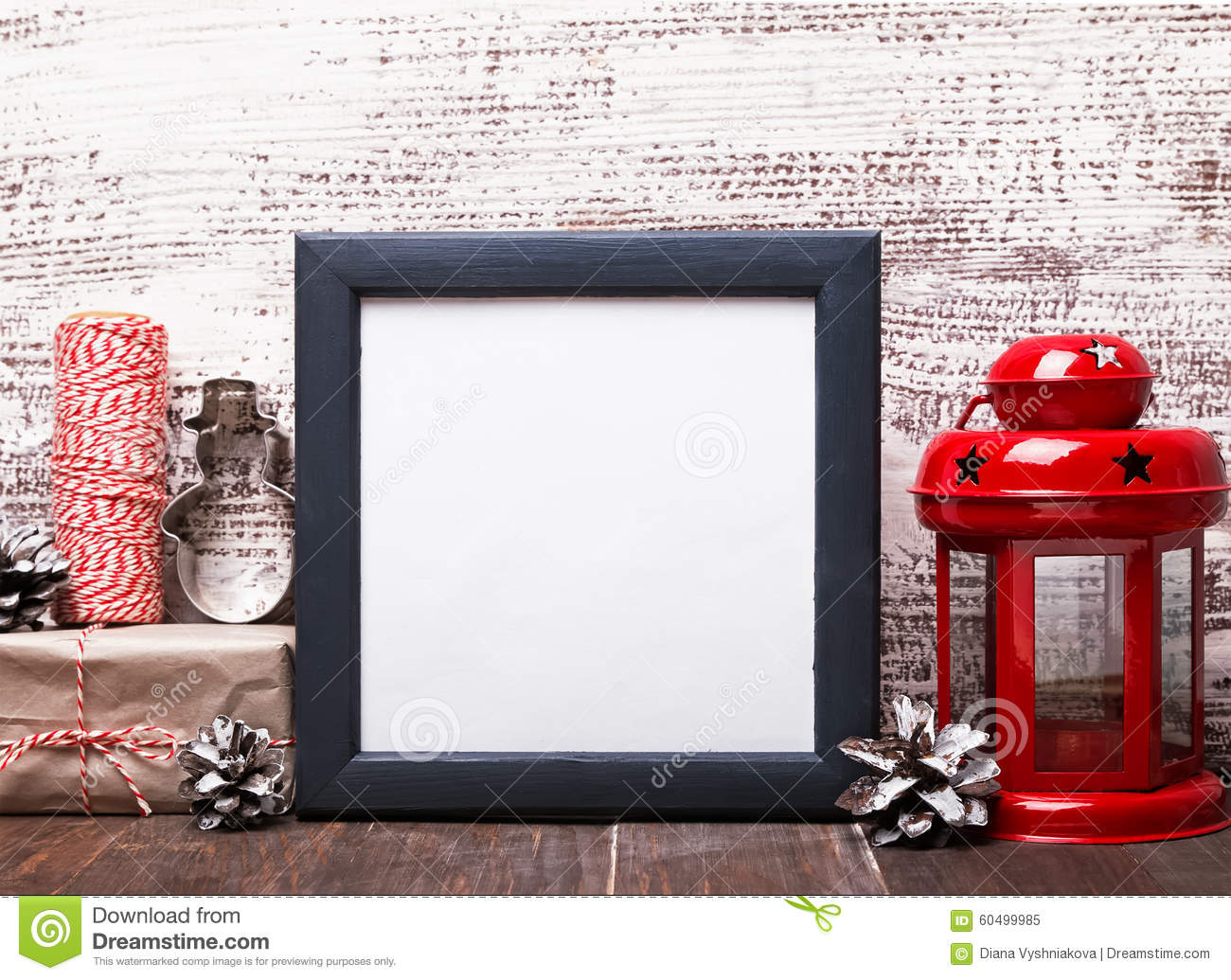 Blank Frame, Craft Style Christmas Decor And Red Lantern Stock Image ...