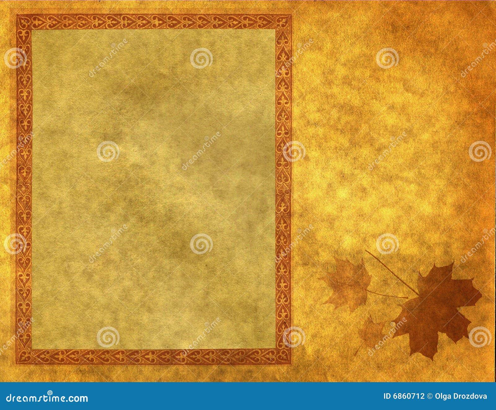 Blank frame on gold paper