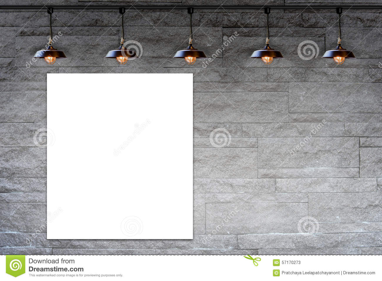 Blank Frame On Granite Stone Decorative Brick Wall With Lamp