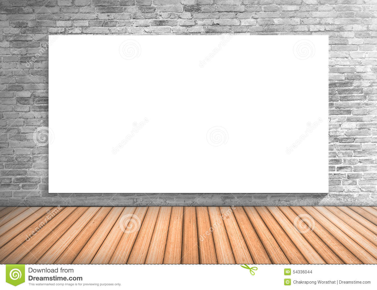 Blank Frame Large White Board On A Concrete Blick Wall And Woode ...