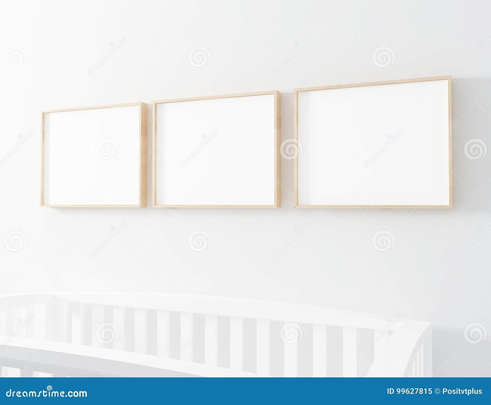 Blank Frame Mockup With Baby Cot Stock Illustration - Illustration ...