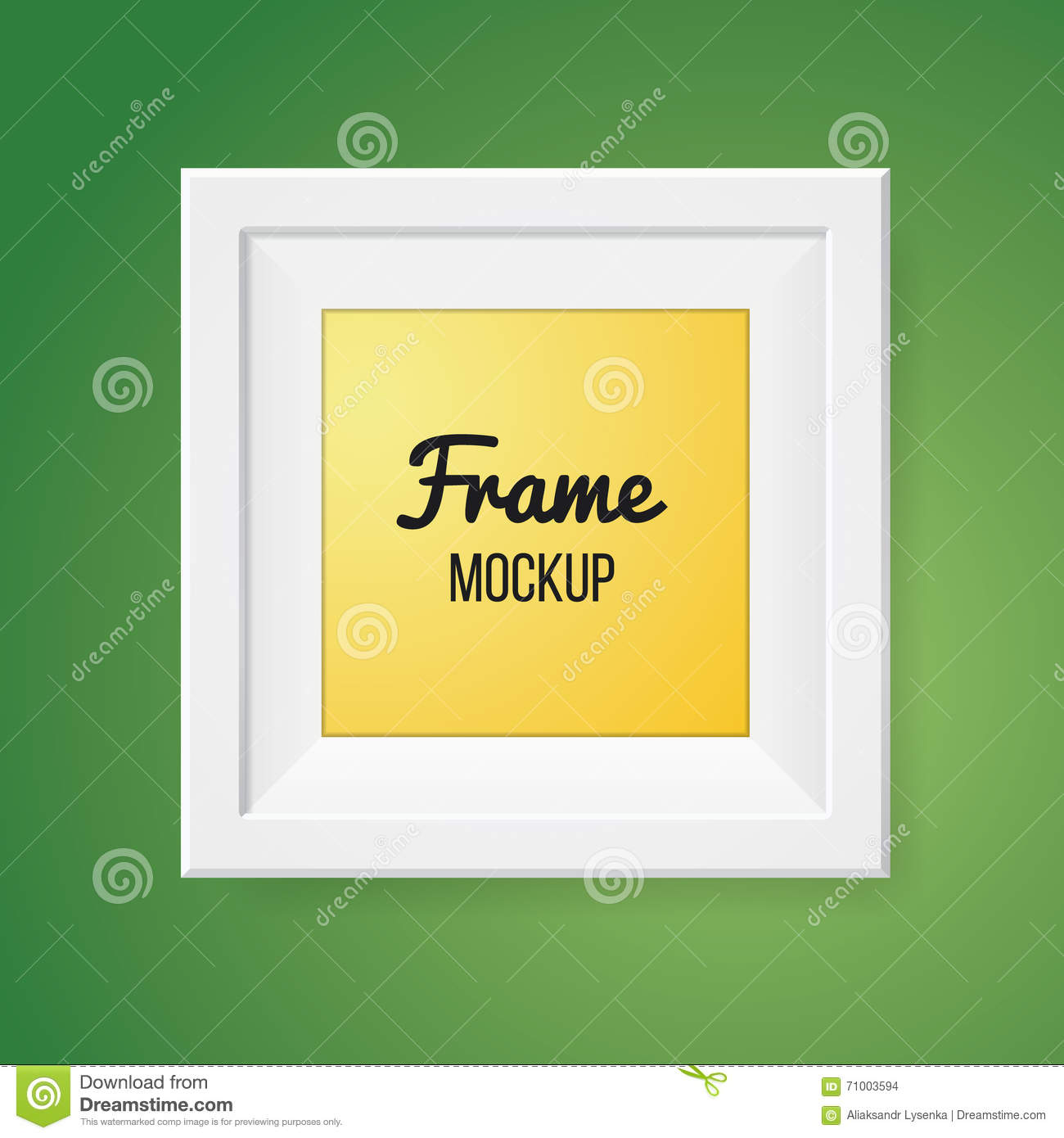 Blank Frame Template On Green Wall. Stock Vector - Illustration of ...