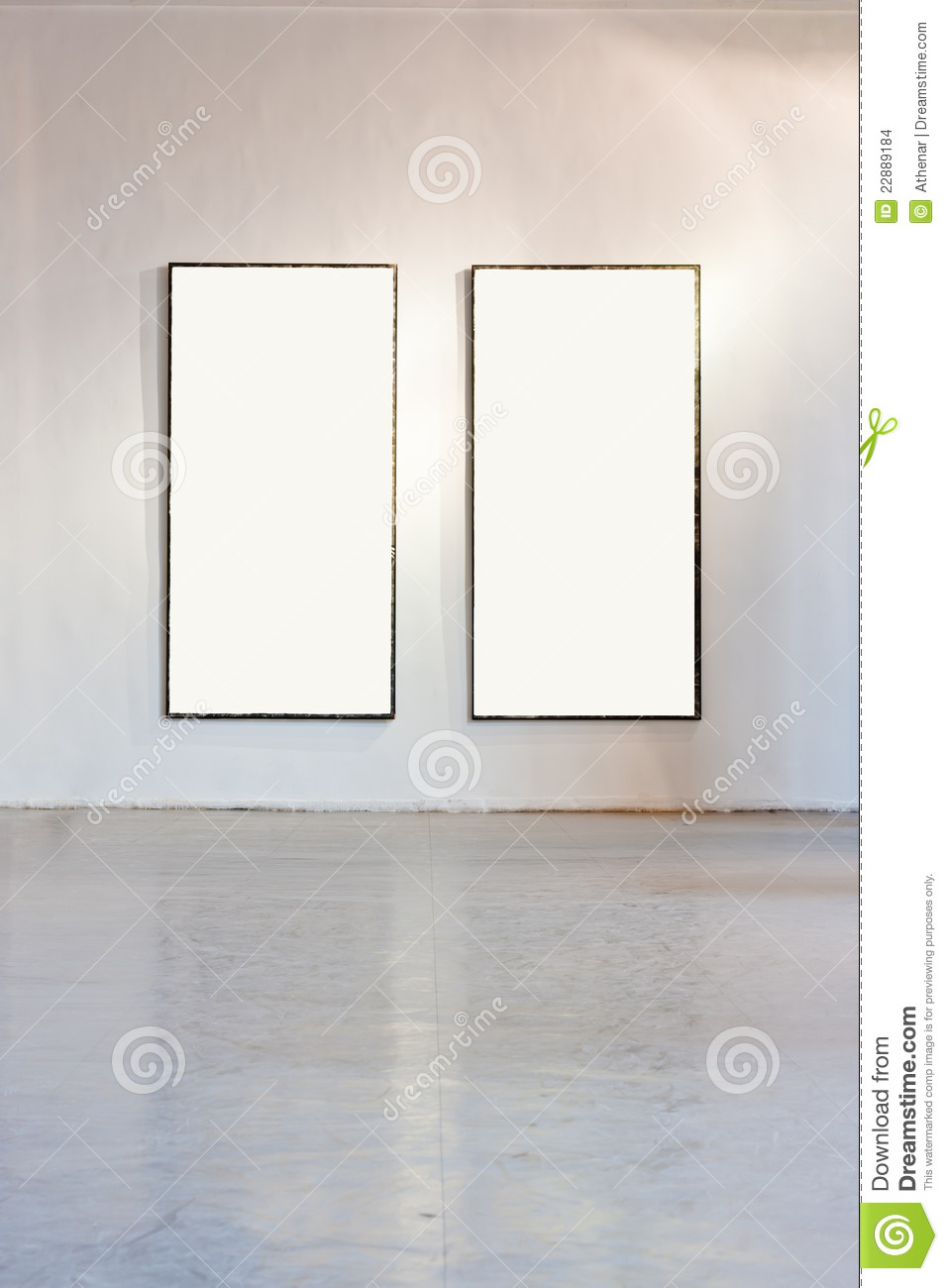 Blank Frame On The Wall At Art Gallery Stock Photo - Image of floor ...