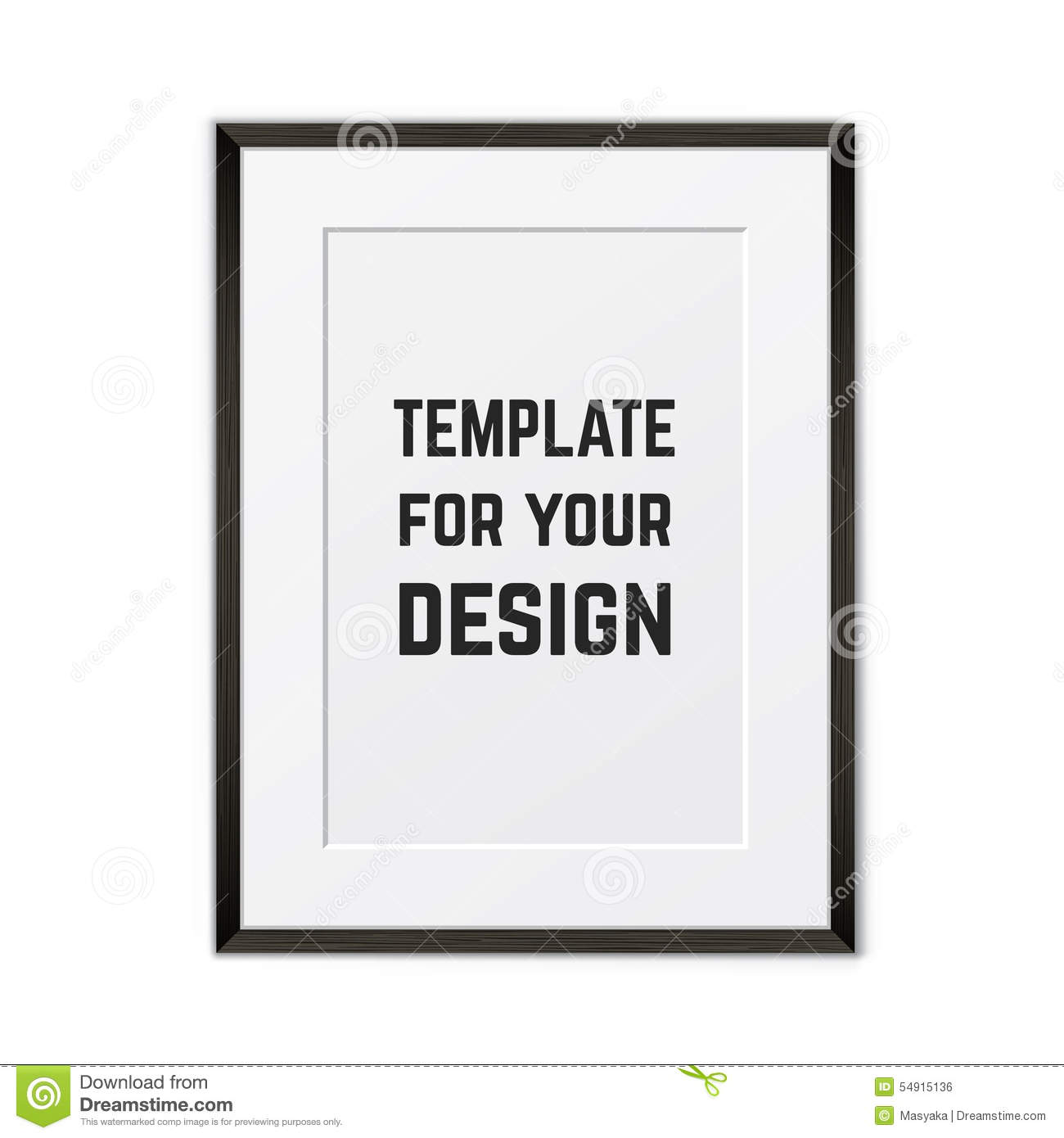 Blank Framed Poster On A Wall. Vector Template Stock Vector ...