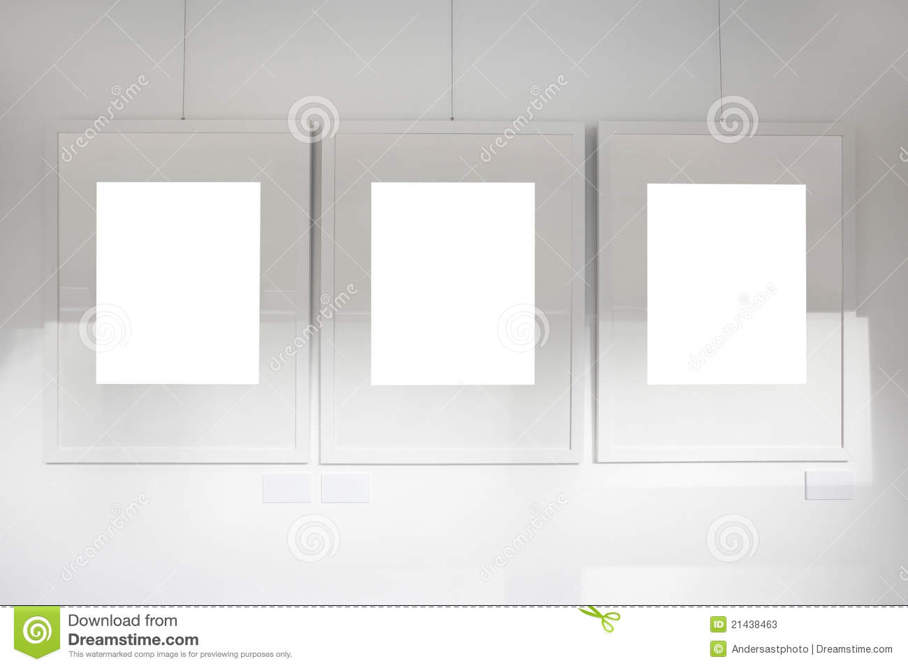Blank Frames On Art Gallery White Wall Stock Photos