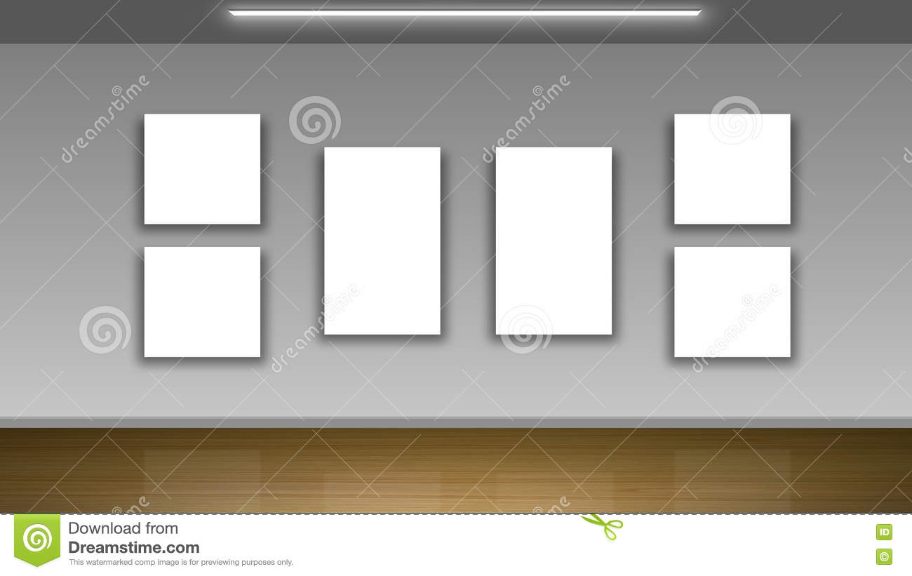 Blank Frames On Wall - Interior Gallery Stock Illustration ...