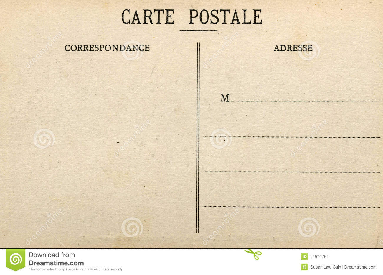 Blank French Postcard Stock Photography Image 19970752