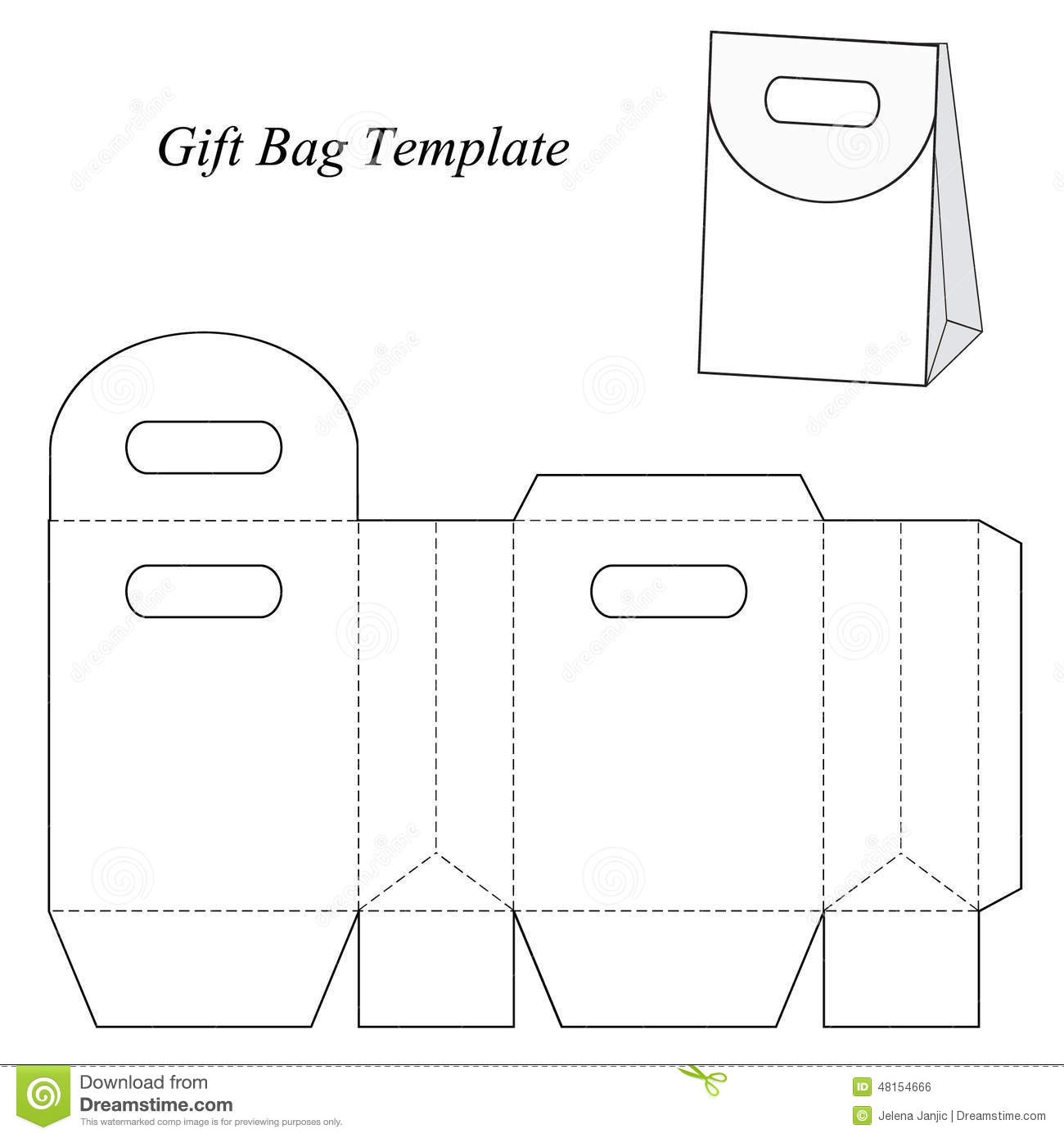 Blank Gift Bag Template With Round Lid