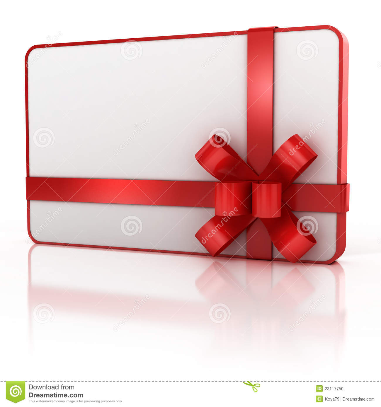 Blank Gift Card With Red Ribbon Stock Photo - Image: 23117750