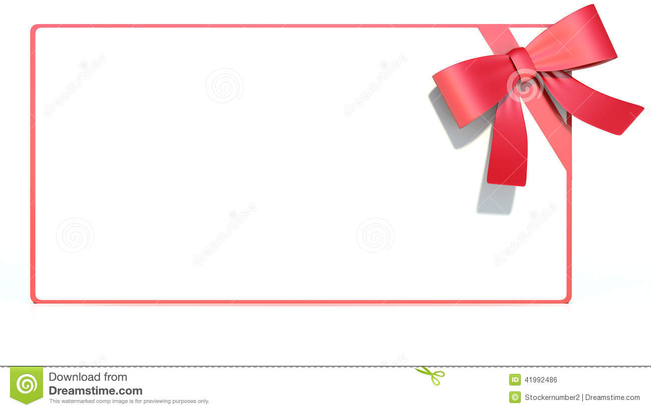Blank Gift Card With Ribbon And Bow Space For Text Stock