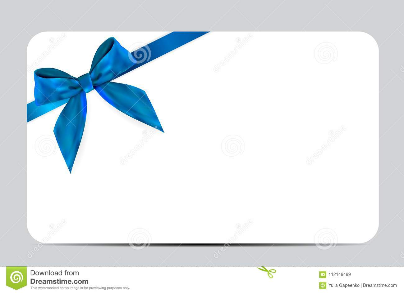 Blank Gift Card Template With Blue Bow And Ribbon Vector