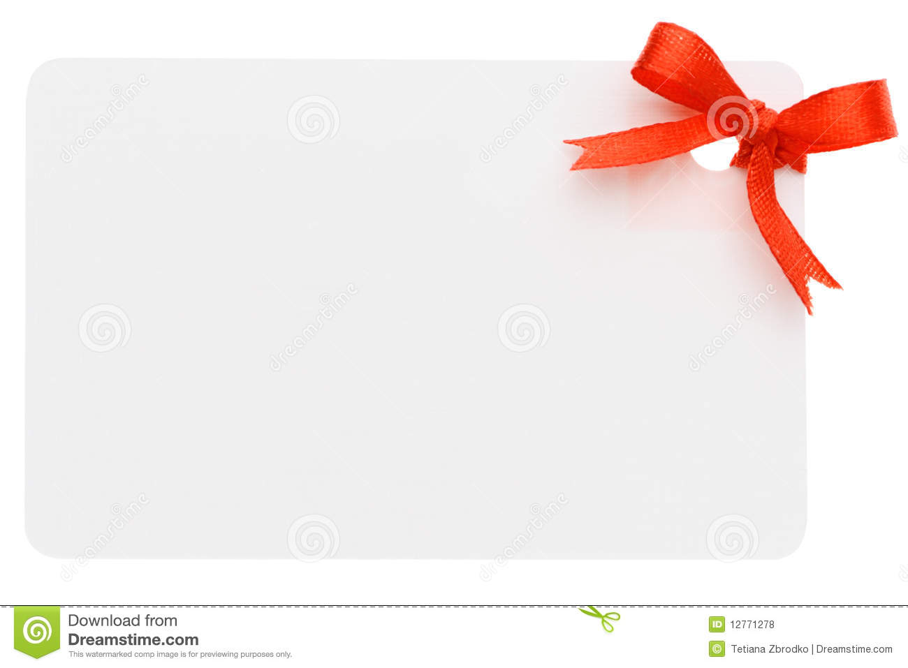 blank gift or price tag tied with red ribbon isolated on a white ...