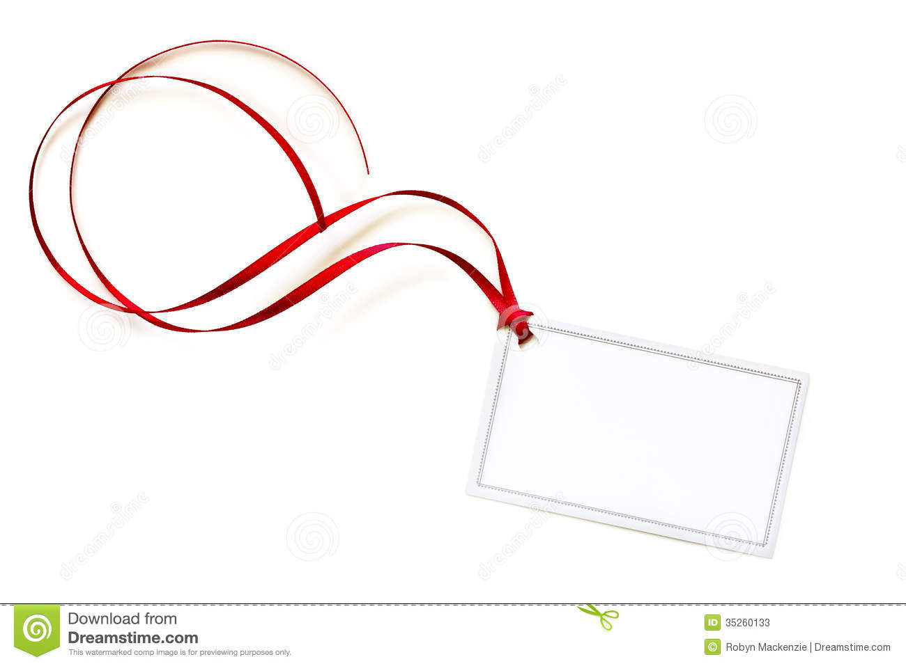 Blank Gift Tag With Red Curling Ribbon Stock Photos ...