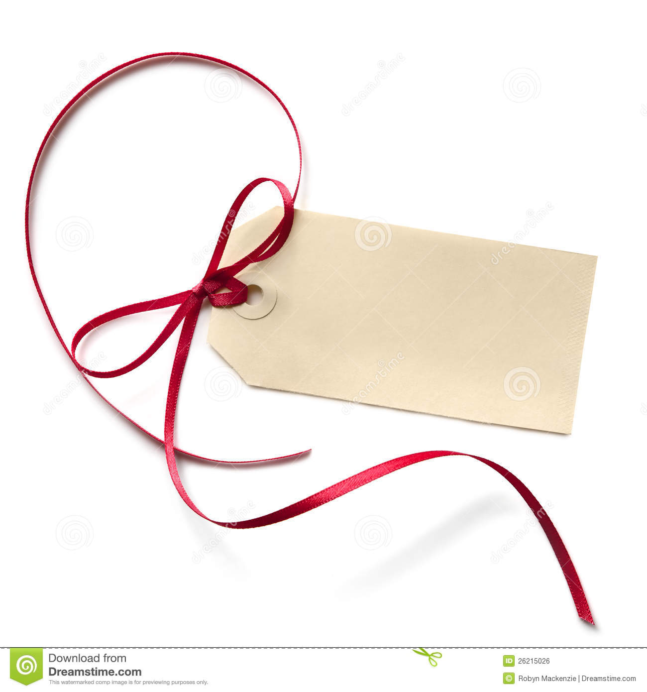 blank gift tag with red ribbon stock photo image of cardboard