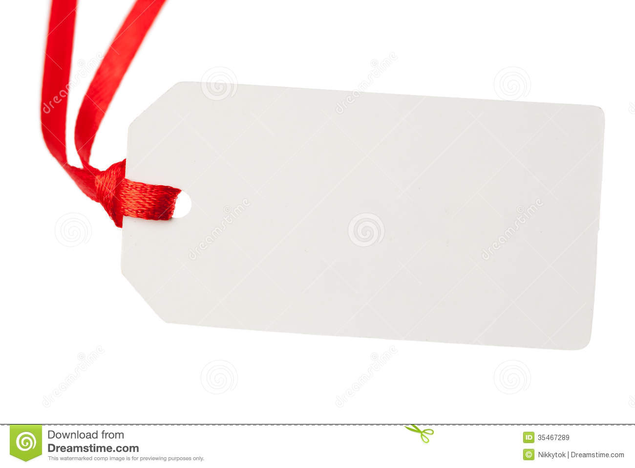 Blank Gift Tag With Red Ribbon Royalty Free Stock Images - Image ...