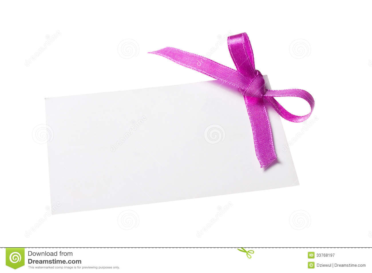 Purple Tag: Blank Gift Tag Tied With A Bow Of Purple Satin Ribbon