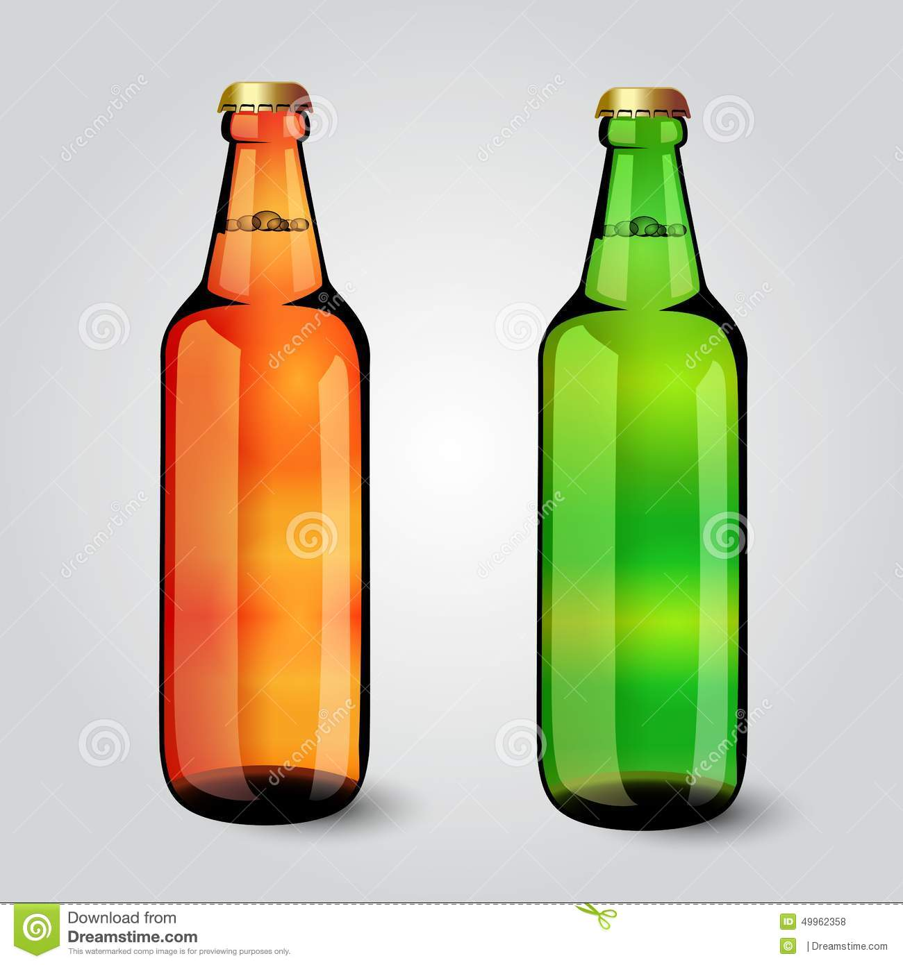 Lager Beer In Green Bottle With Blank Label Royalty-Free