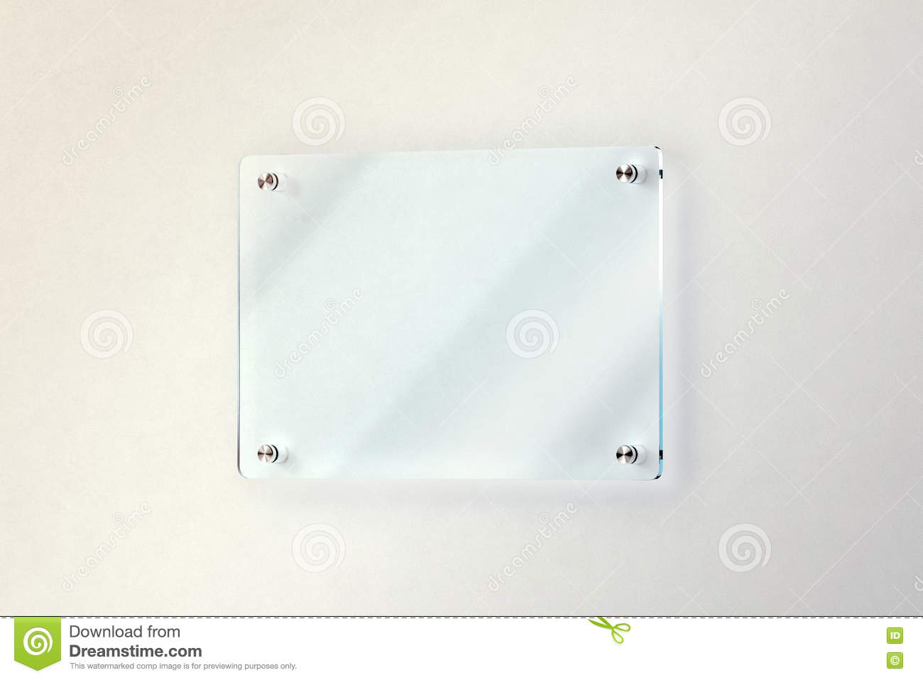 Blank Glass Door Plate Mounted On Wall Mockup Clipping