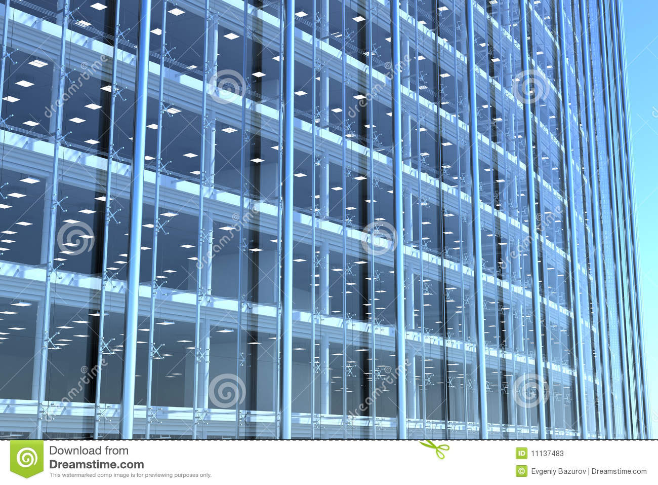Blank curved facade of glass office building with reflections,lights ...