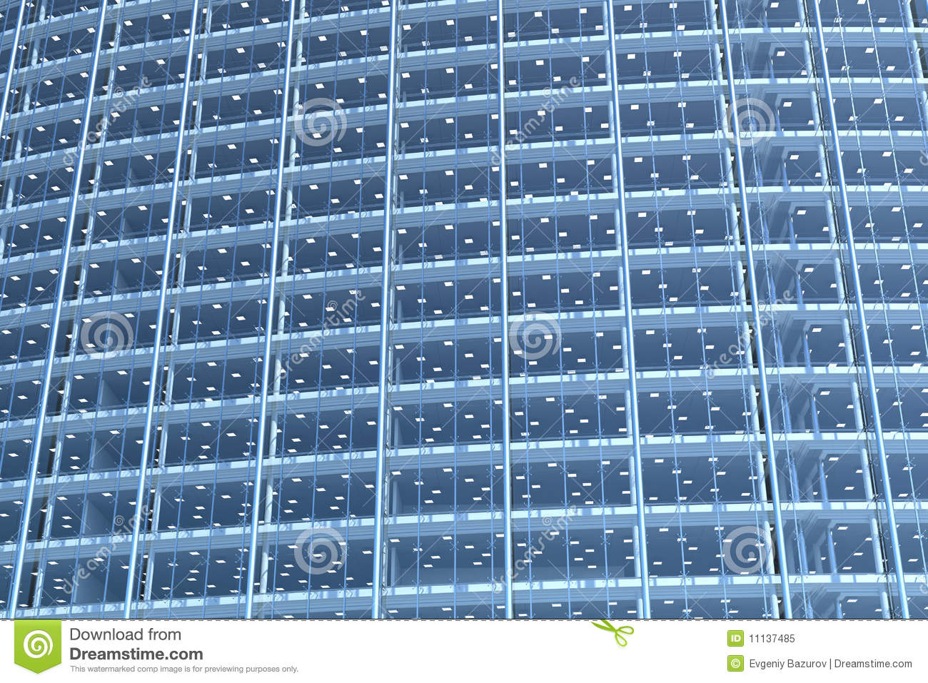 Glass Facade Of Office Building Royalty Free Stock Image: Blank Glass Facade Of Curved Office Building Royalty Free
