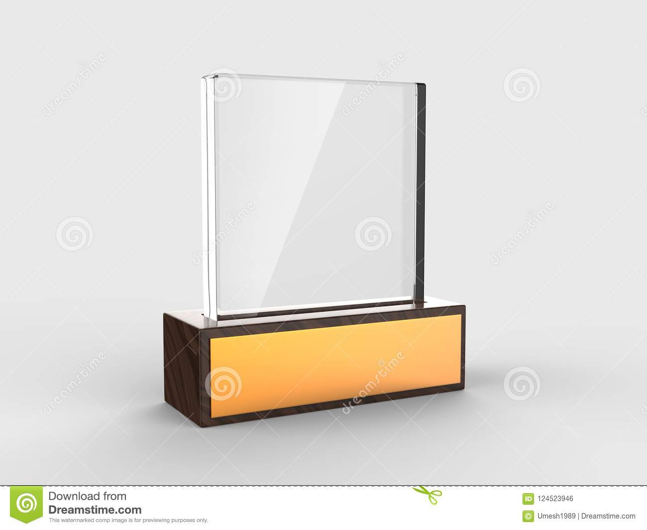 Blank Glass Trophy Mock Up Stand On Wooden Base, 3d Rendering