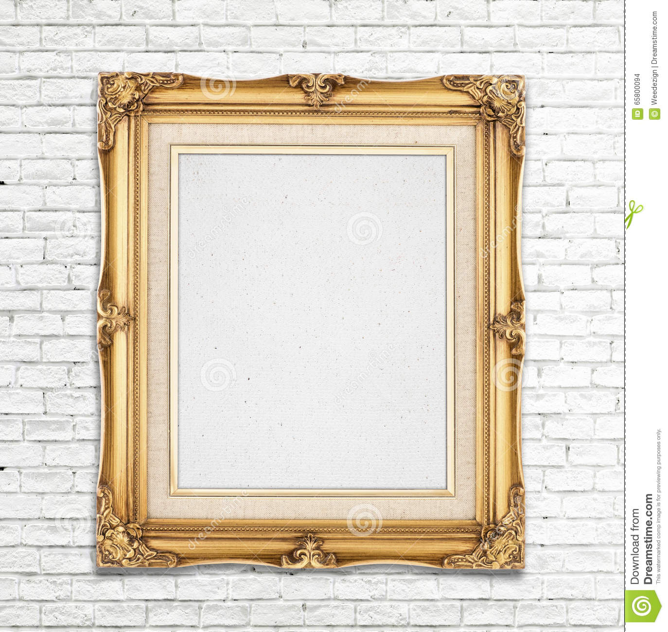 Blank Gold Vintage Photo Frame On White Brick Wall, Template For ...