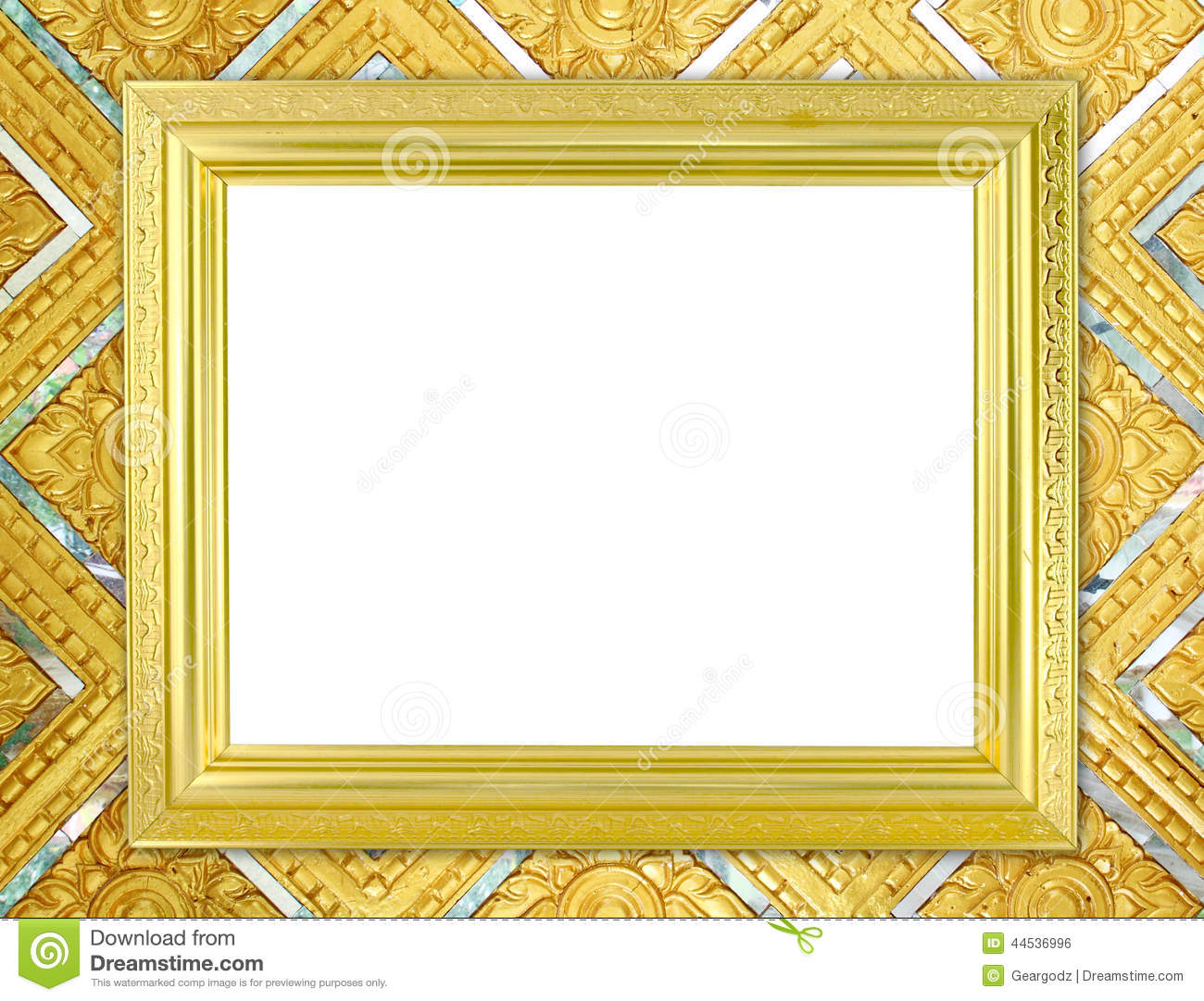 blank golden frame on thai style buddha wall