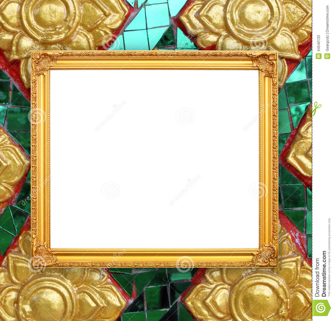 blank golden frame on thai style buddha wall stock photos