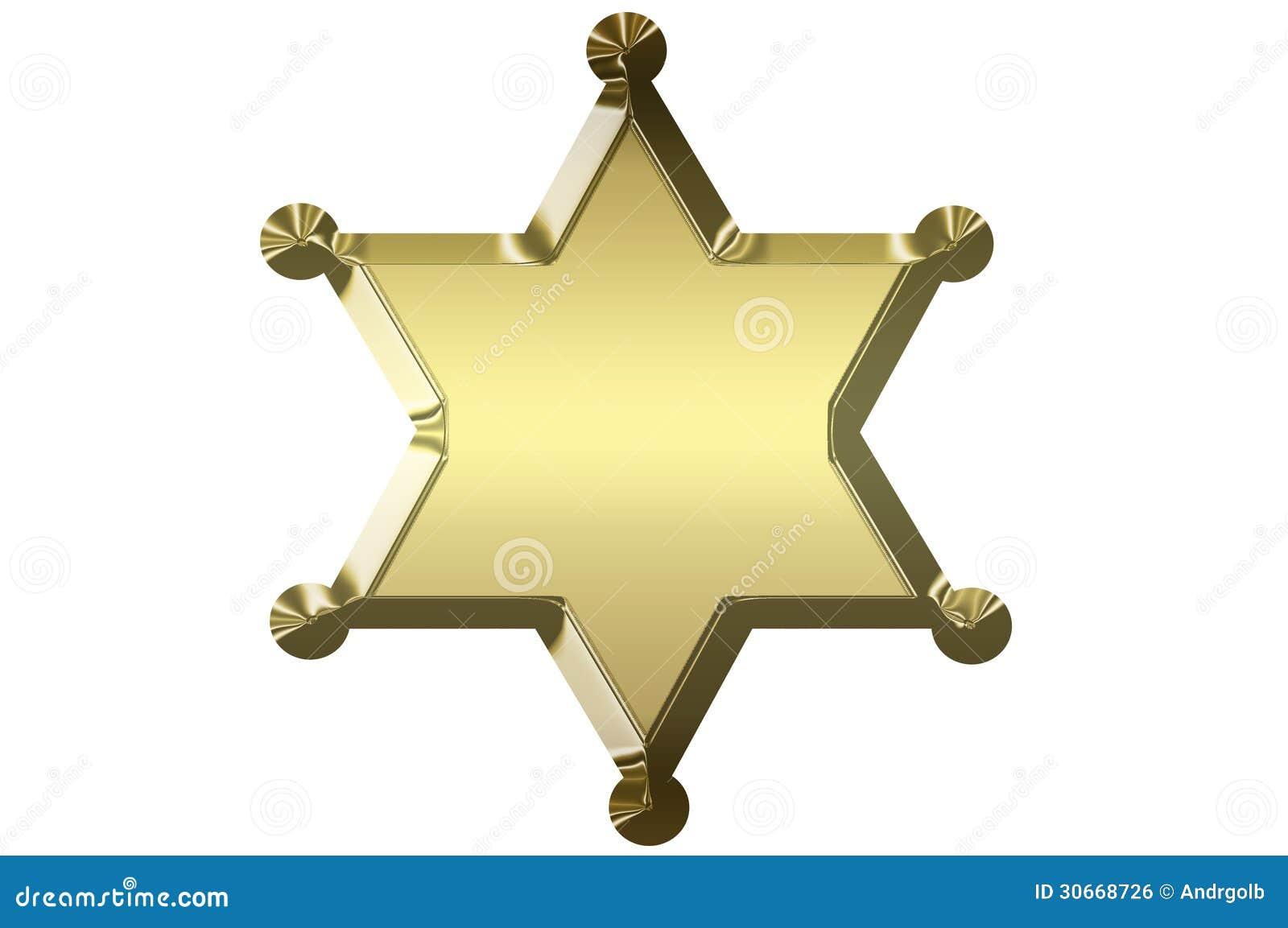 Blank Golden Sheriff Star Royalty Free Stock Image