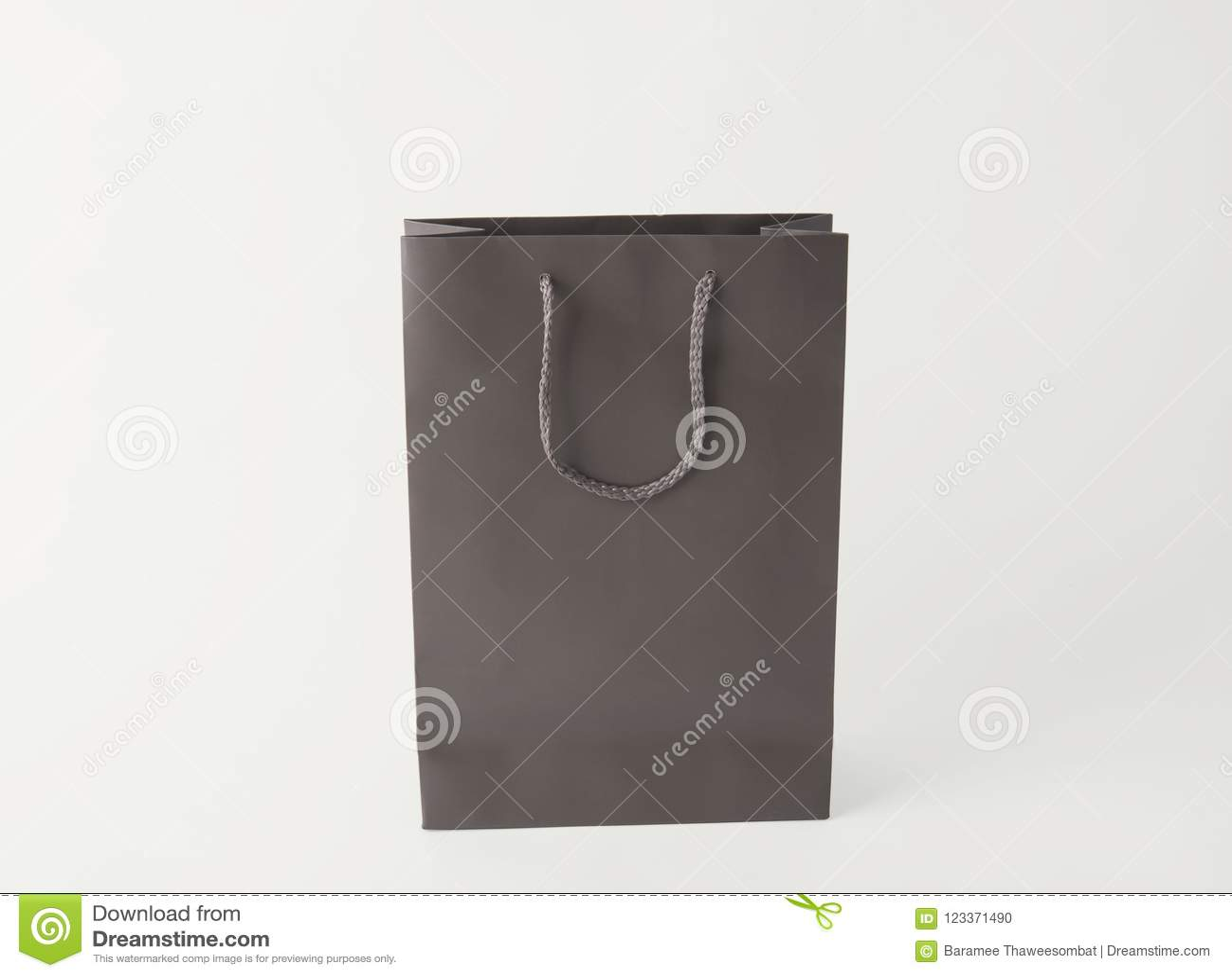 blank gray paper shopping bag for mockup template advertising stock