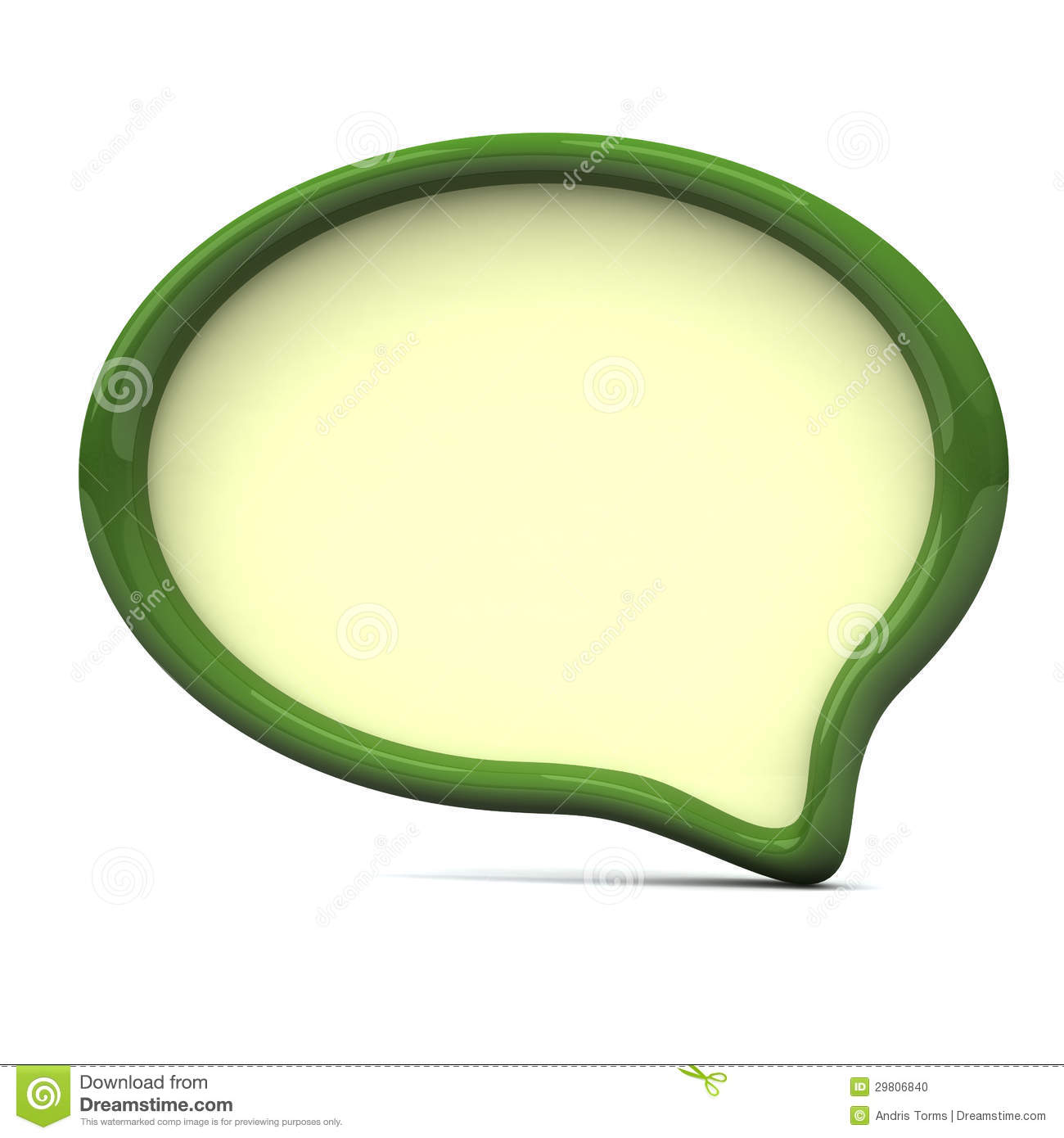 Blank green speech bubble frame - chat icon, 3d.