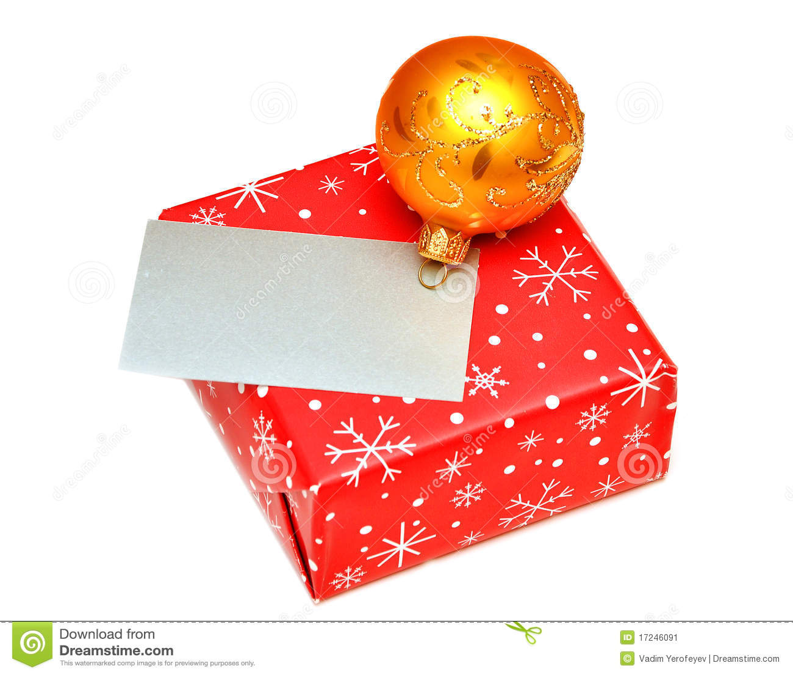 Blank greeting card or gift on christmas box stock