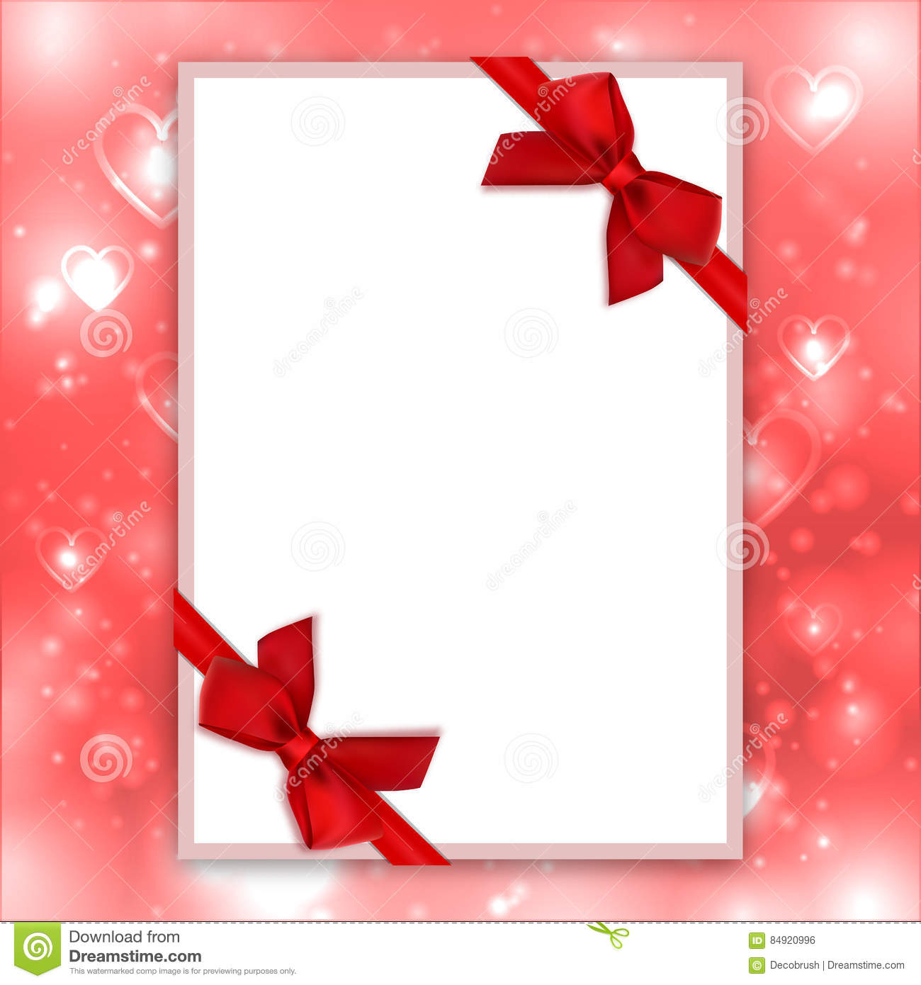 Blank Greeting Card Red Bows Ribbons Love Backdrop Valentine - Blank birthday card template