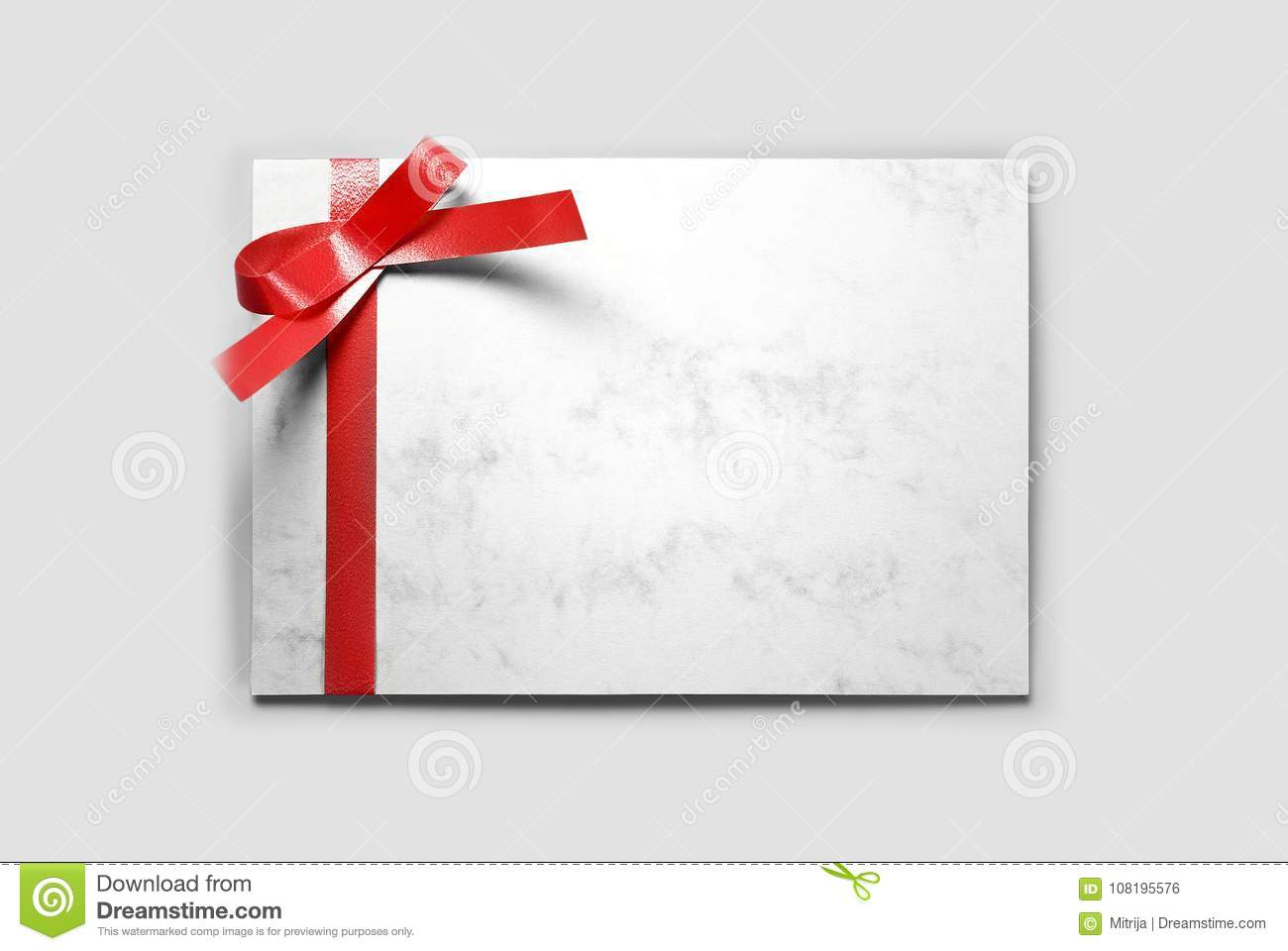 blank greeting or thank you card with red ribbon stock photo image