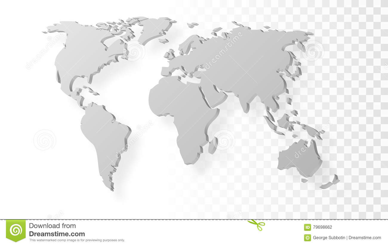 Blank Grey Abstract World Map With Shadow Template On Transparent