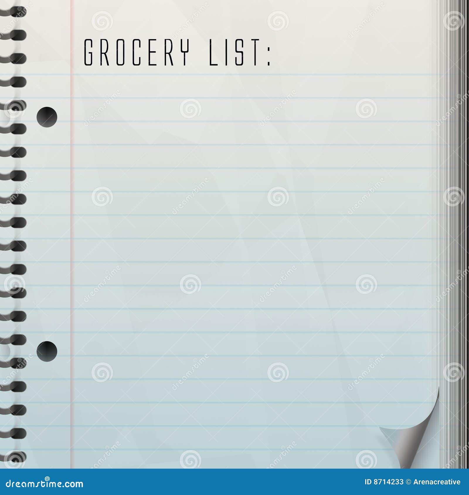 Blank Grocery List Blank grocery list