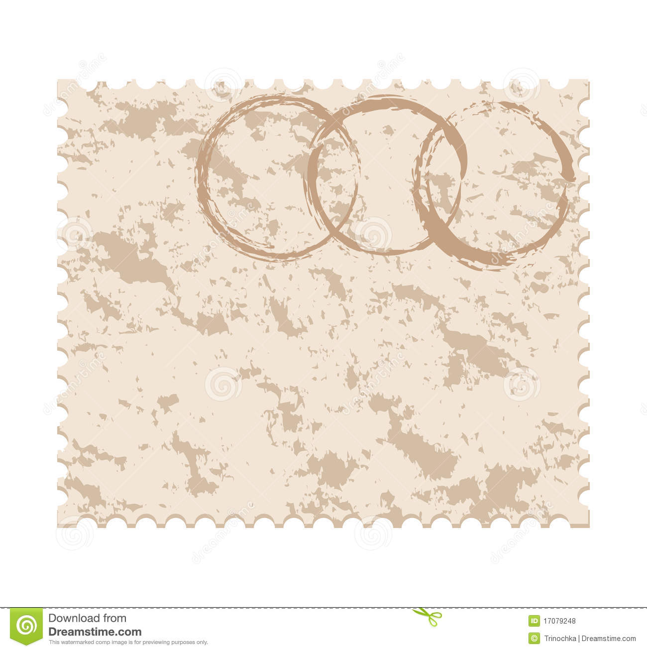 blank grunge post stamp on white background