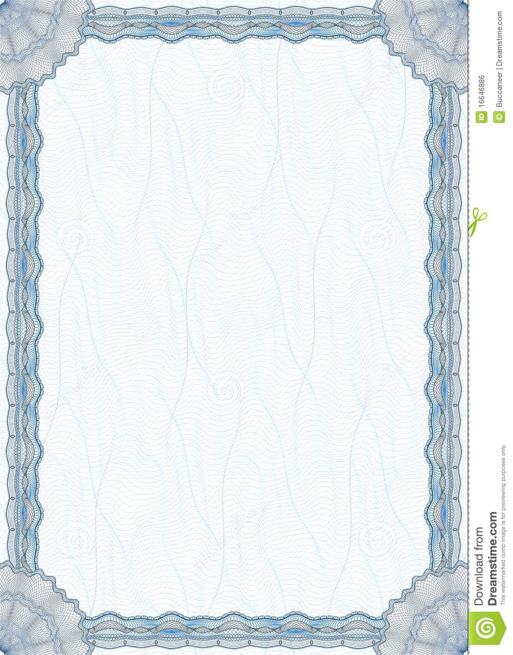 Blank Guilloche Border For Diploma Or Certificate Royalty