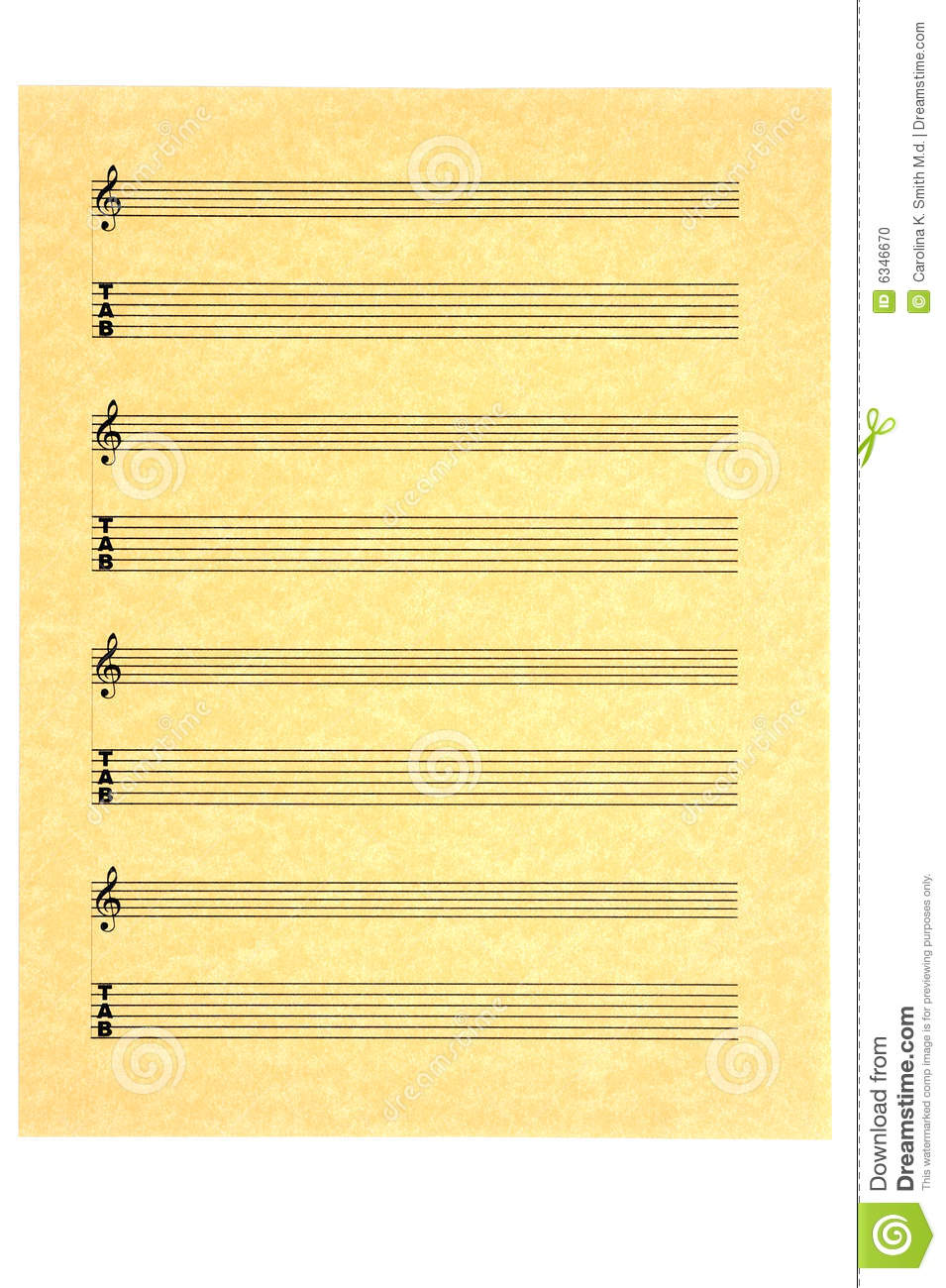 Blank Music Sheet for guitar (tabs) with treble clef on parchment ...