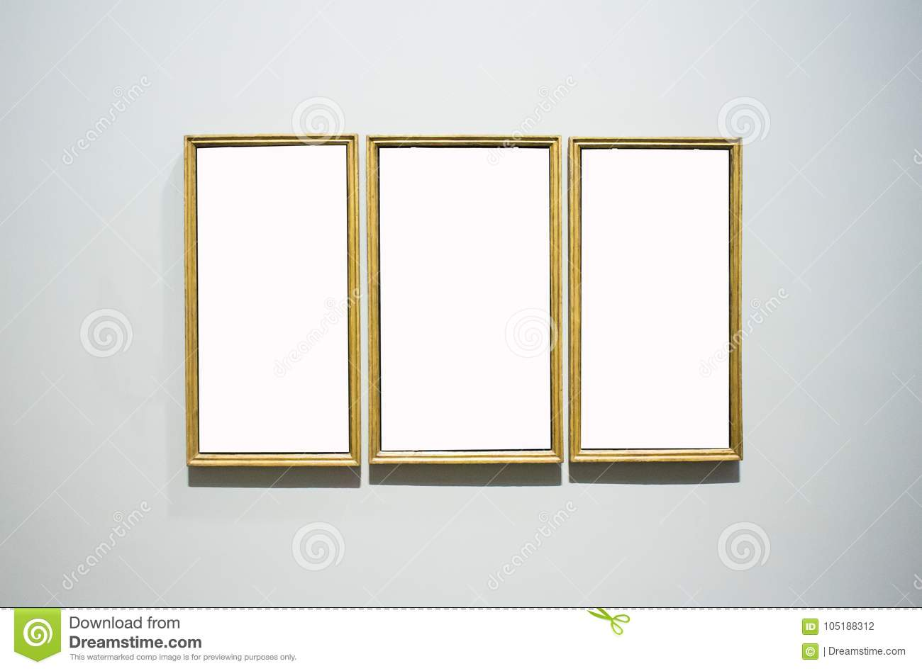 Three Ornate Picture Frames Art Gallery Museum Exhibit Blank Whi ...