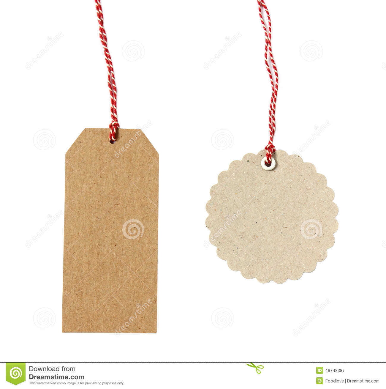 Blank hanging gift tags stock image image of isolated 46748387 blank hanging gift tags jeuxipadfo Choice Image