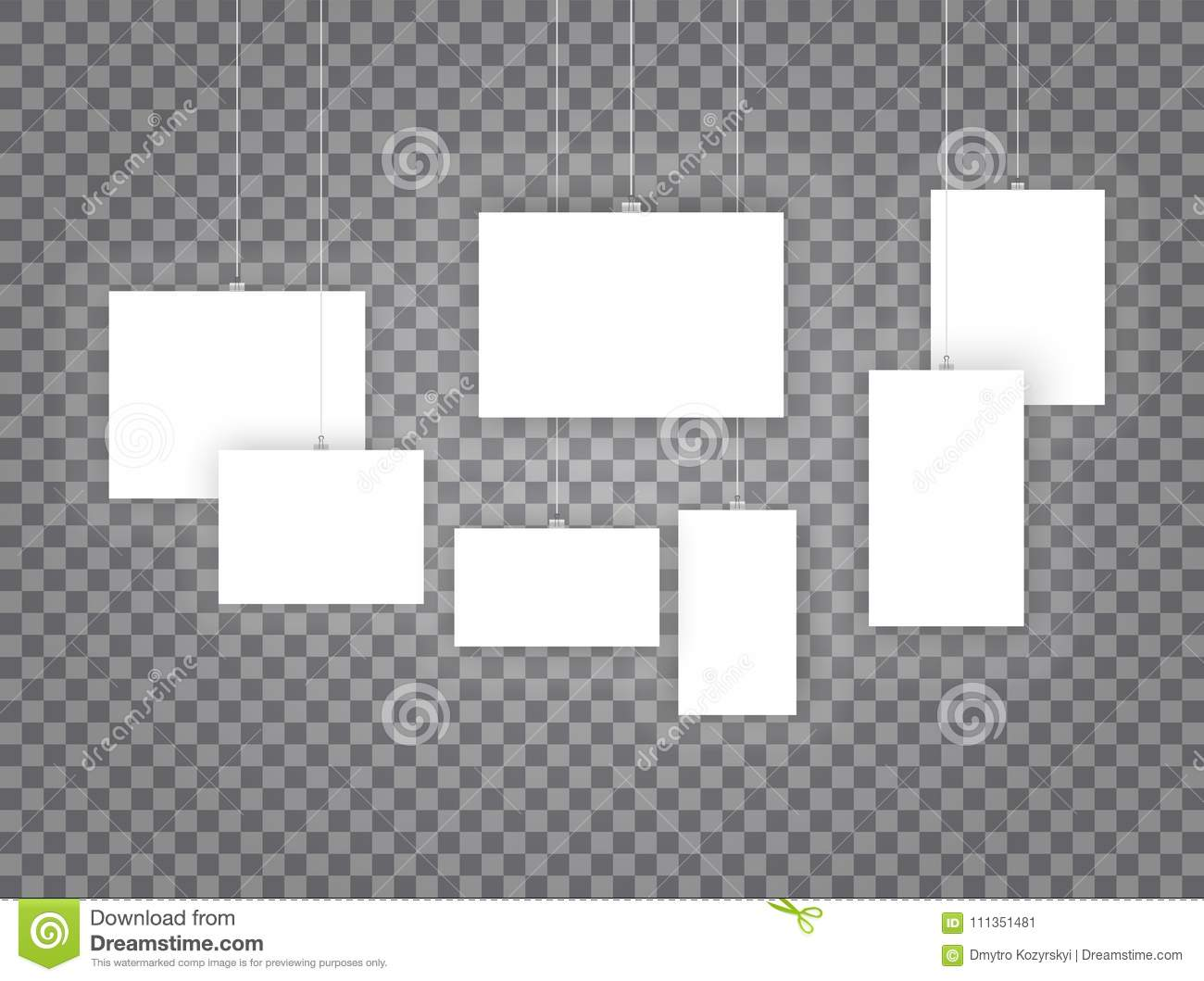 Blank Hanging Photo Frames Or Poster Templates Isolated On ...