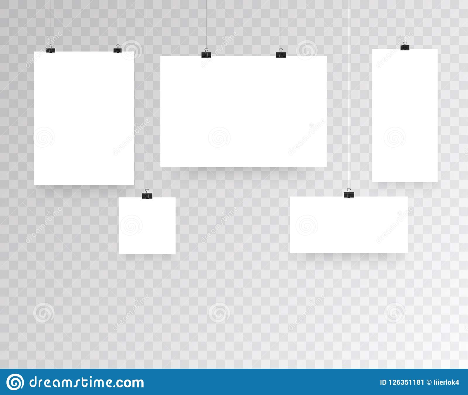 blank hanging photo frames or poster templates isolated on