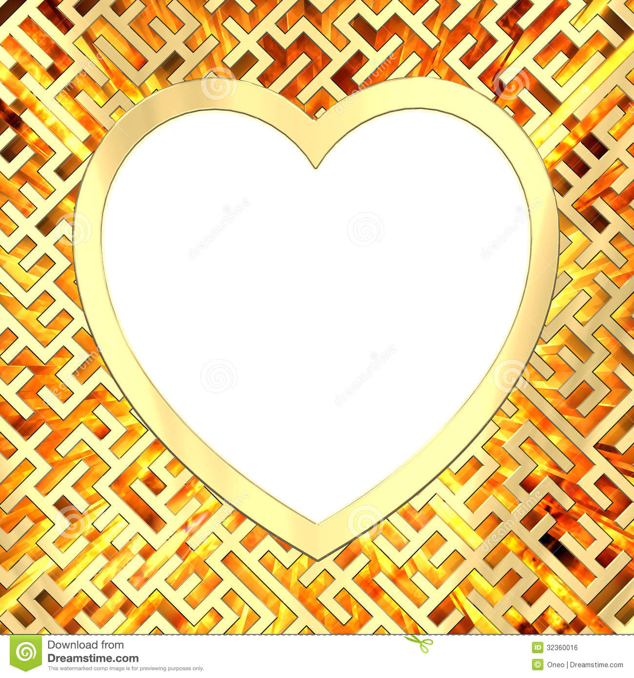 Blank Heart Shaped Frame On Maze Background With Flame Stock ...