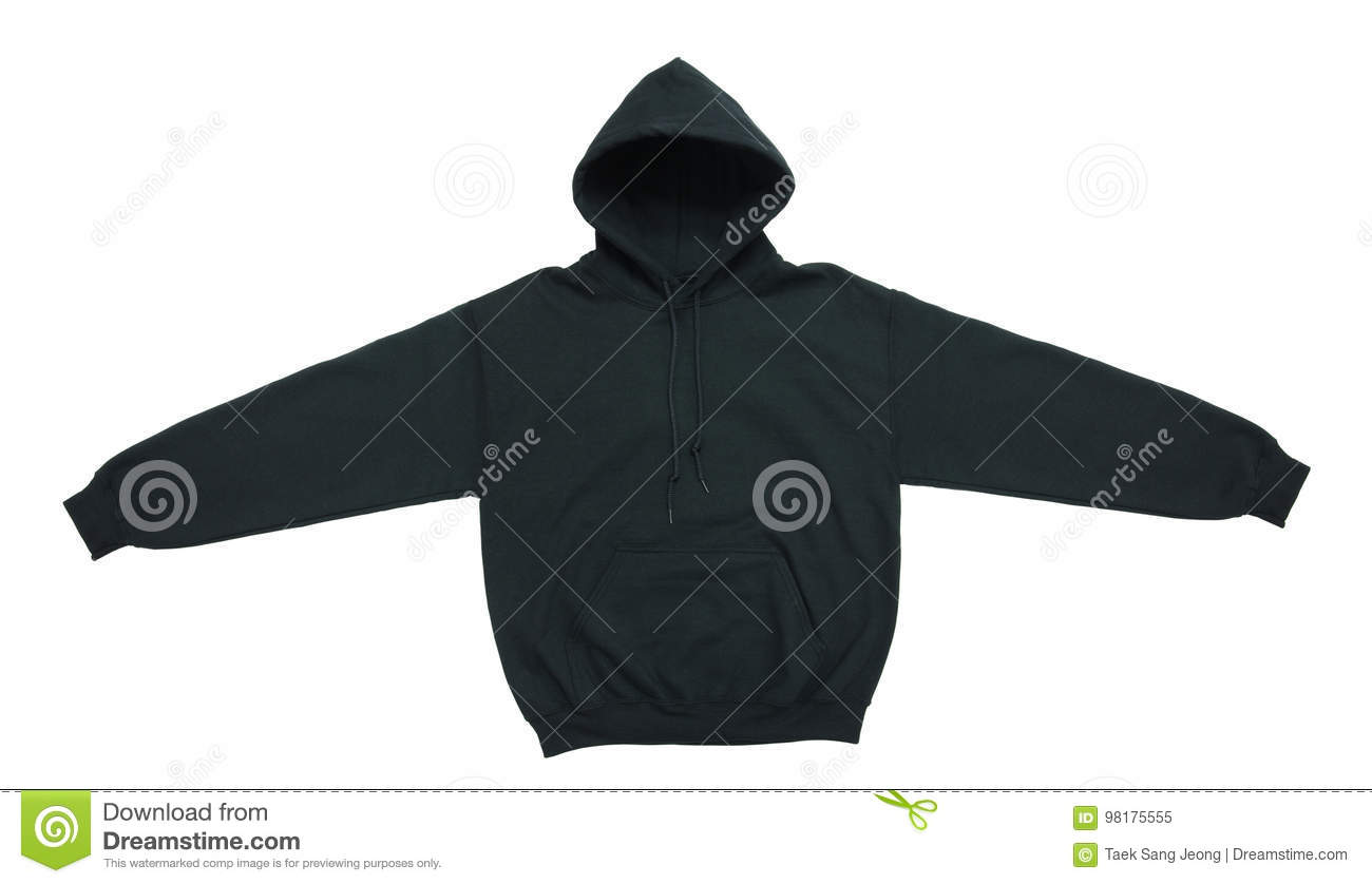 Blank hoodie sweatshirt color black front view
