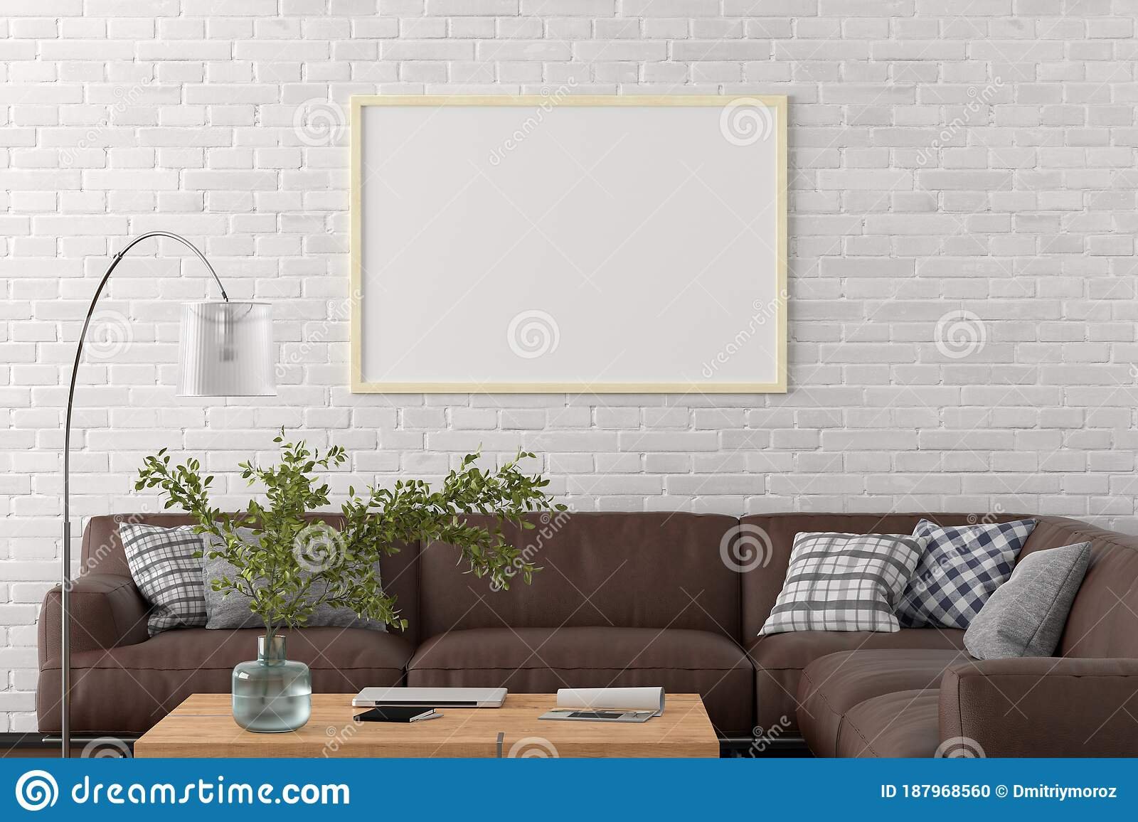 Blank Horizontal Poster Frame On White Brick Wall In Interior Of Living Room With Clipping Path Around Poster Stock Illustration Illustration Of Indoor Creative 187968560