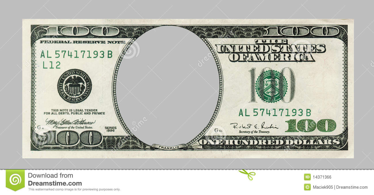 blank hundred dollar bank note with clipping patch stock photo
