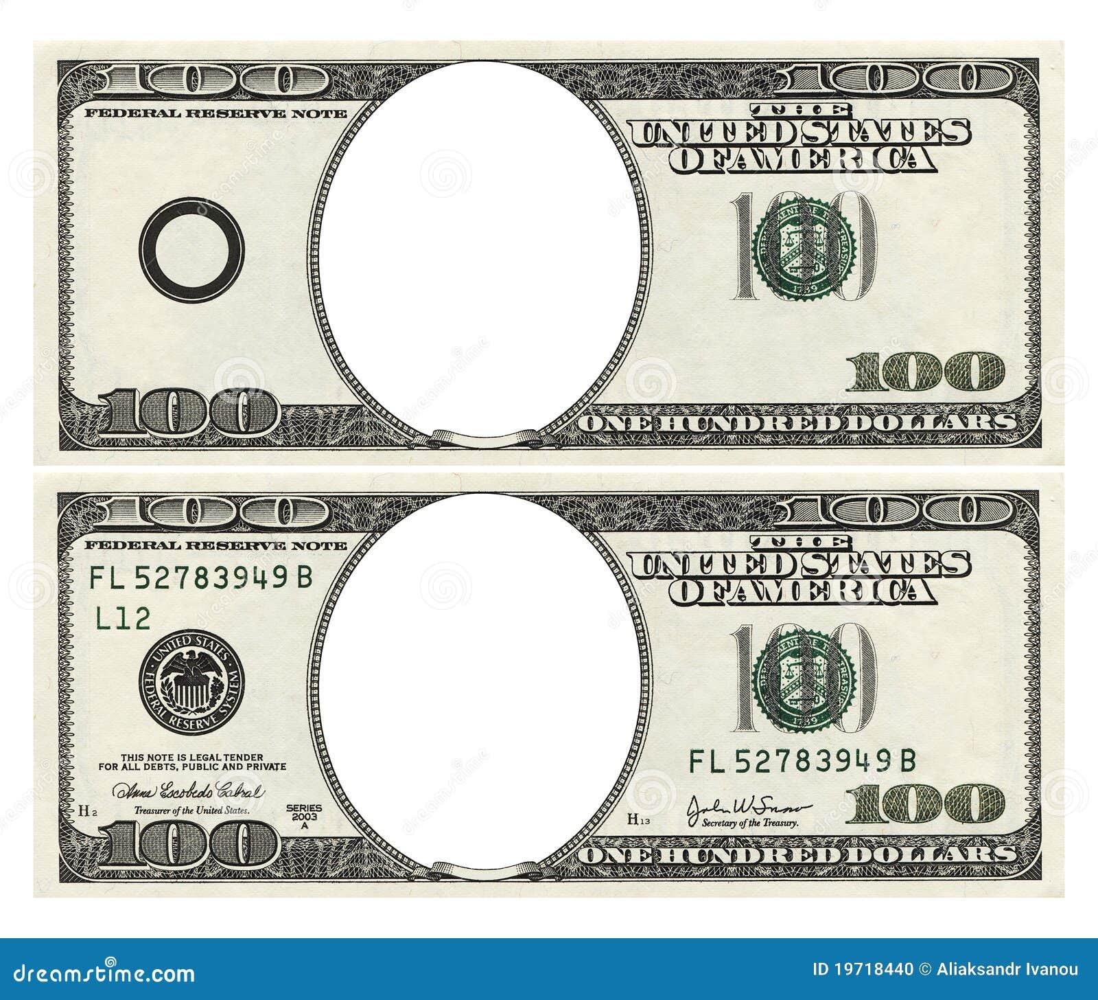 Blank Dollar Bill Template Blank hundred dollars bank