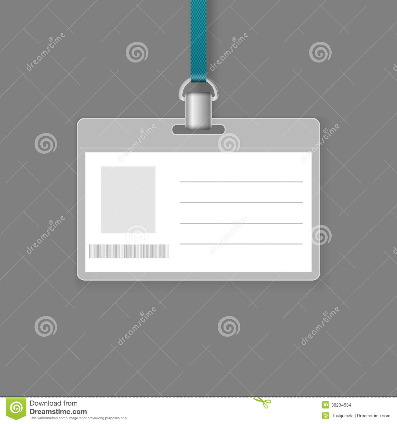 Blank ID badge template isolated on grey background.